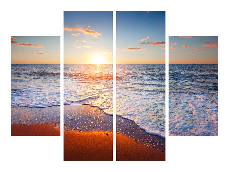 Acrylglasbild 4-teilig Sonnenuntergang am Horizont