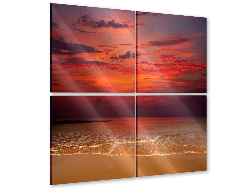Acrylglasbild 4-teilig Zeile auf den Sand