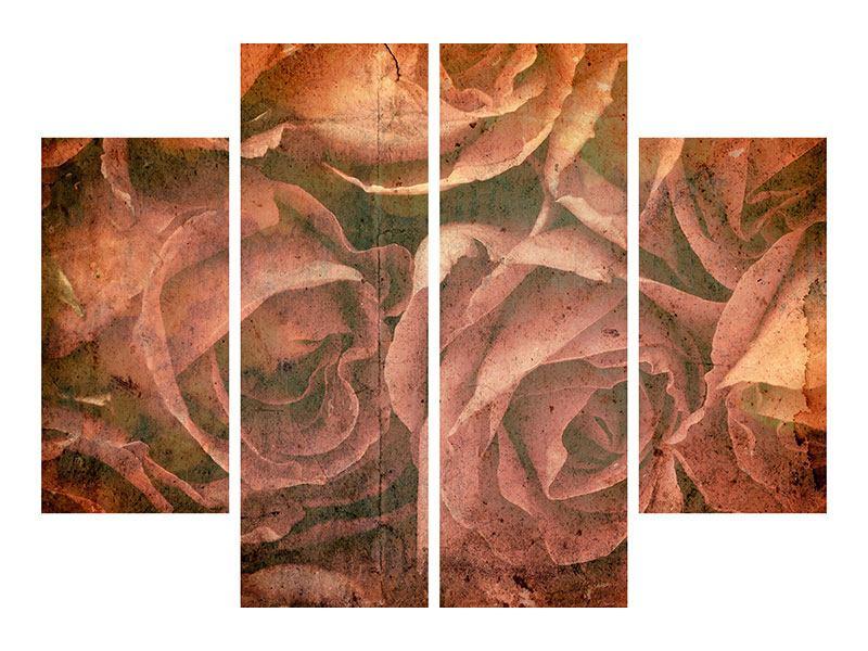 Acrylglasbild 4-teilig Rosenbukett