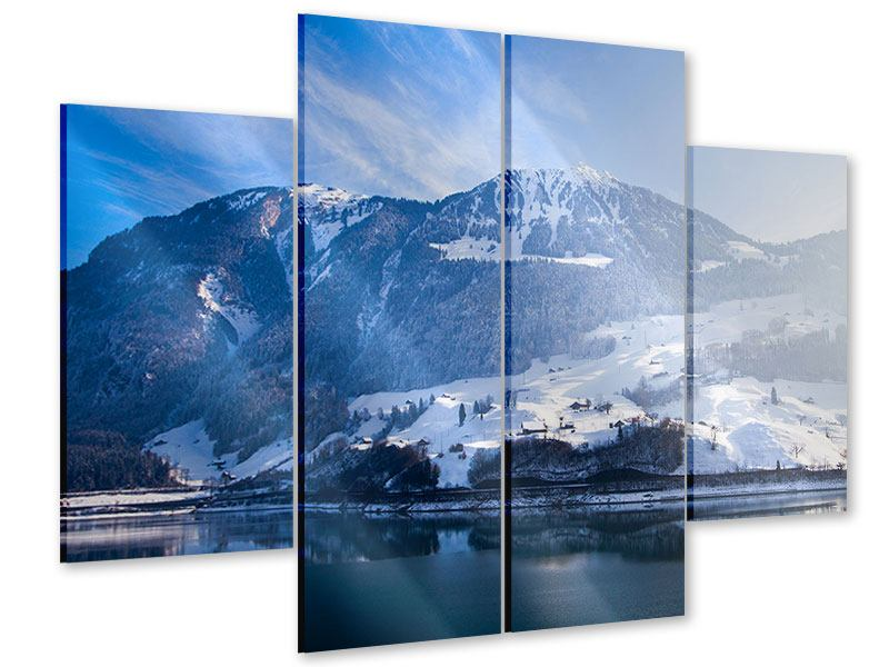 Acrylglasbild 4-teilig Winterwunderland