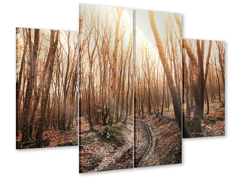 Acrylglasbild 4-teilig Der kahle Wald