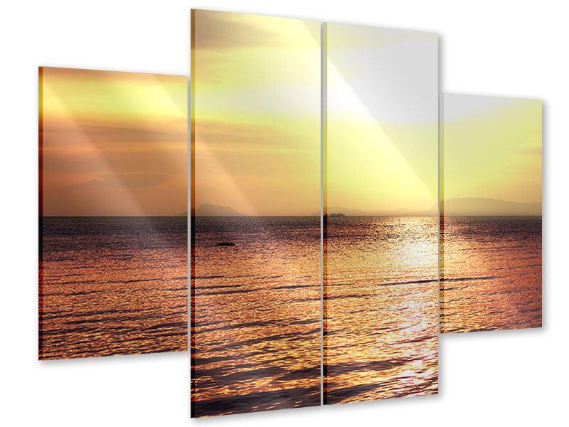 Acrylglasbild 4-teilig Sonnenuntergang an der See