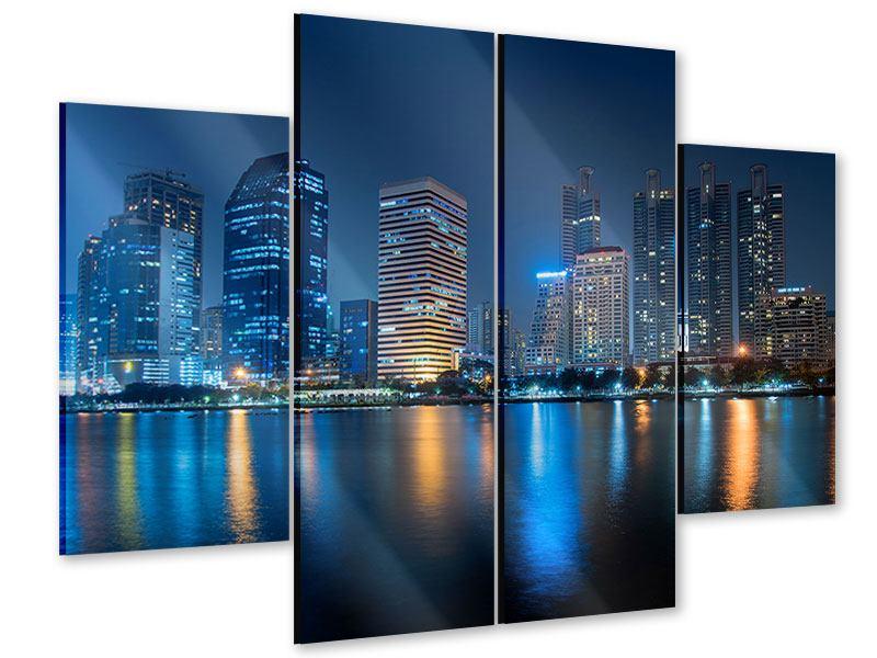 Acrylglasbild 4-teilig Skyline Bangkok bei Nacht