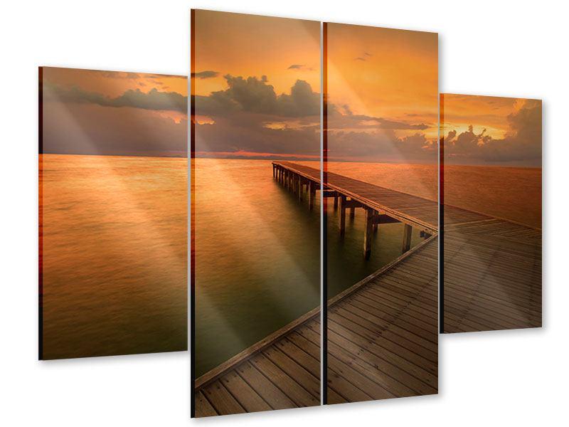 Acrylglasbild 4-teilig Der Steg am Meer