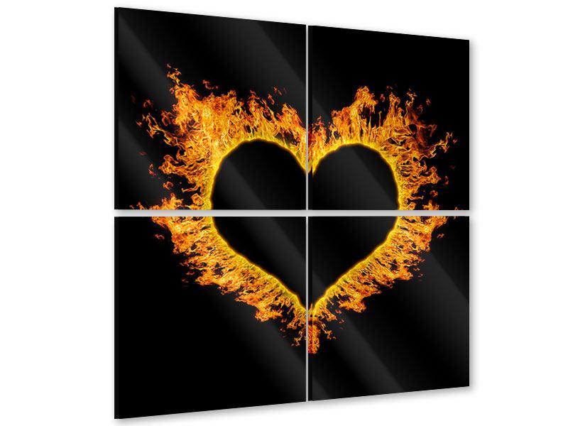 Acrylglasbild 4-teilig Herzflamme