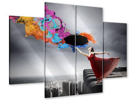 Acrylglasbild 4-teilig Tanz auf dem Wolkenkratzer