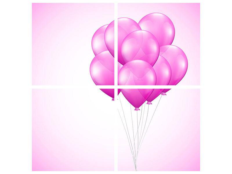 Acrylglasbild 4-teilig Rosarote Luftballons