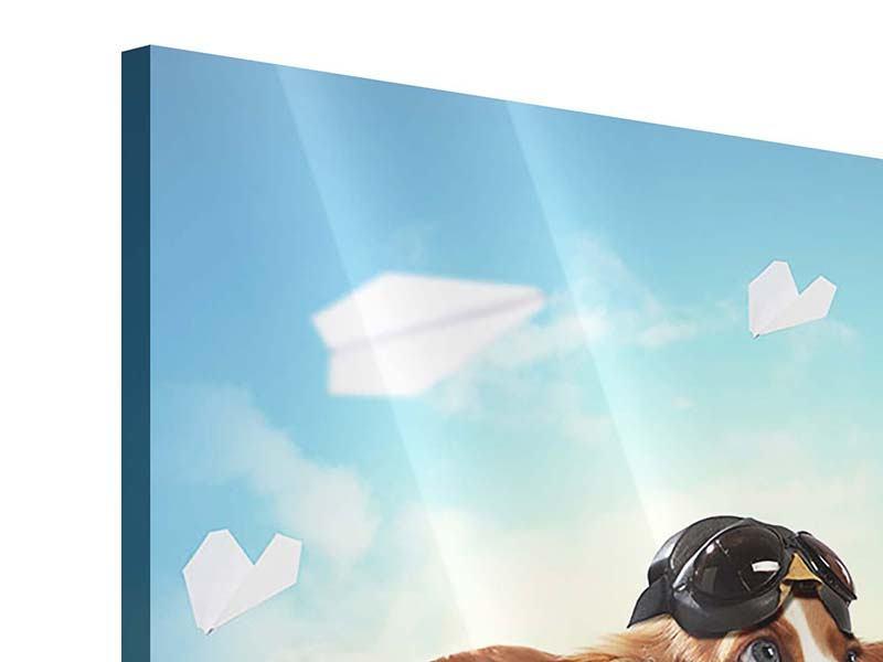 Acrylglasbild 4-teilig Flying Dog