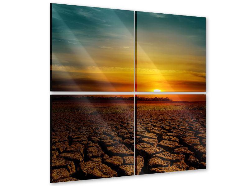 Acrylglasbild 4-teilig Afrikas Dürre