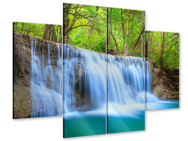 Acrylglasbild 4-teilig Wasserfall Si Nakharin