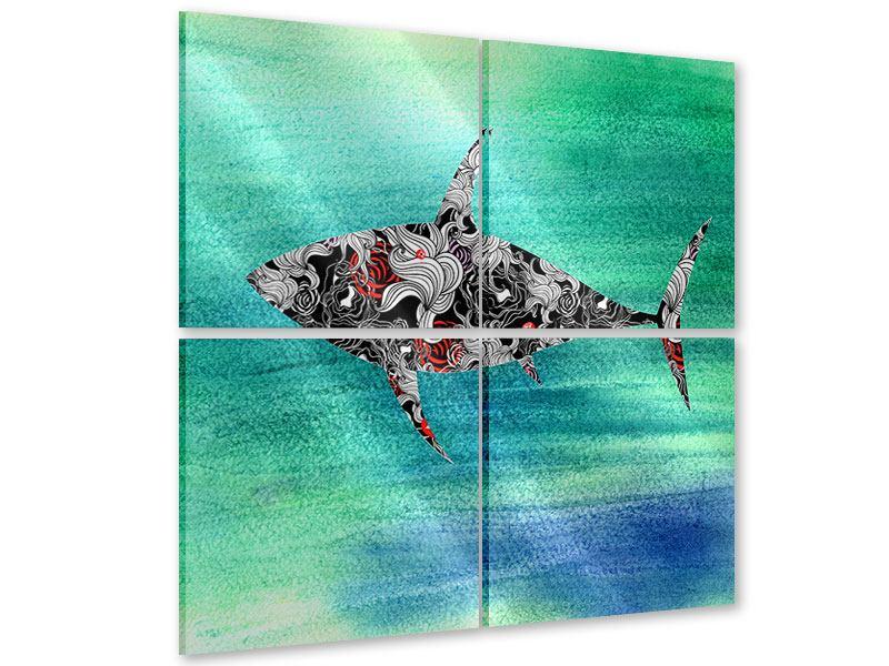 Acrylglasbild 4-teilig Haifisch-Ornament