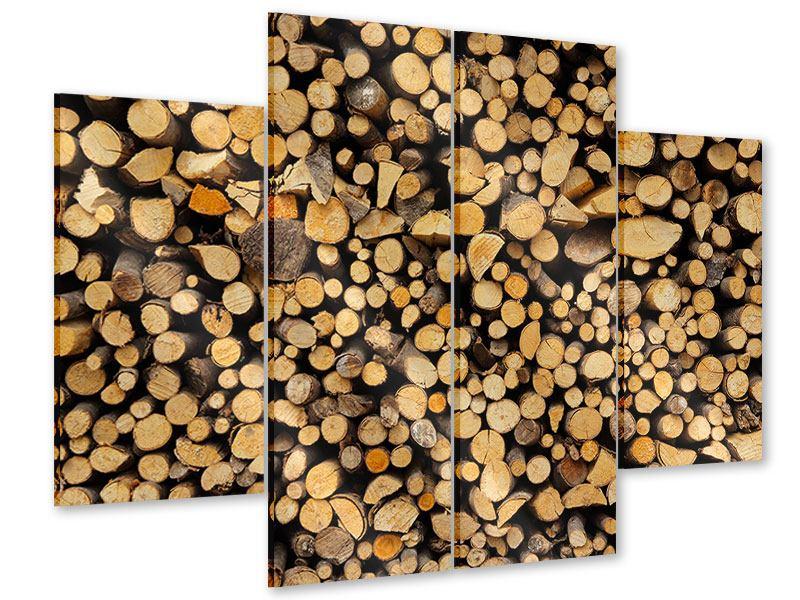 Acrylglasbild 4-teilig Brennholz