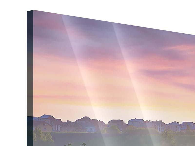 Acrylglasbild 4-teilig Sonnenuntergang am Hügel