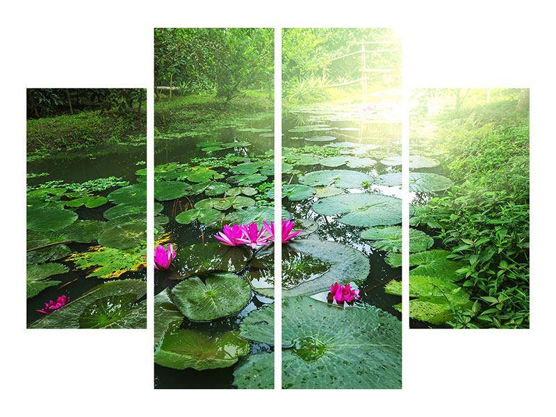 Acrylglasbild 4-teilig Gartenteich