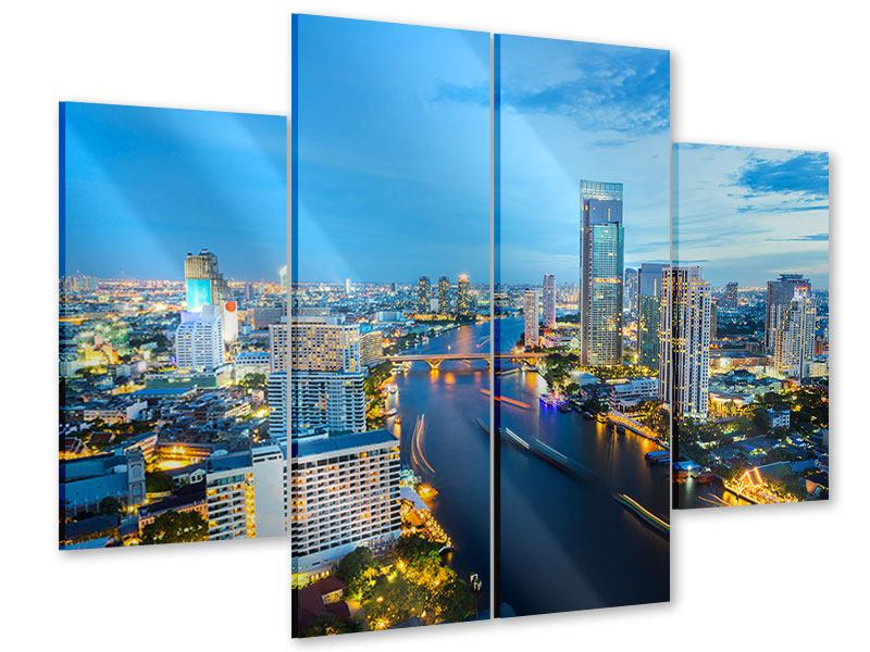 Acrylglasbild 4-teilig Skyline Bangkok in der Abenddämmerung