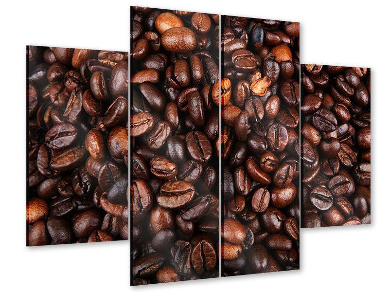 Acrylglasbild 4-teilig Kaffeebohnen in XXL