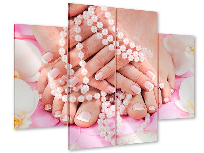 Acrylglasbild 4-teilig Hände und Füsse