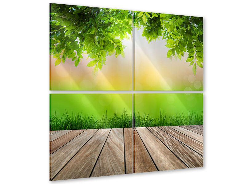 Acrylglasbild 4-teilig Gartenterrasse