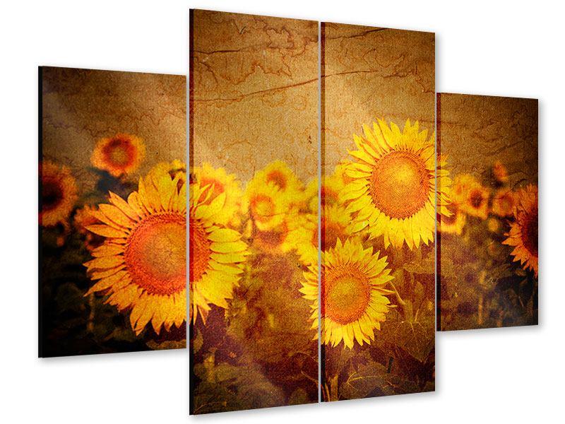 Acrylglasbild 4-teilig Retro-Sonnenblumen