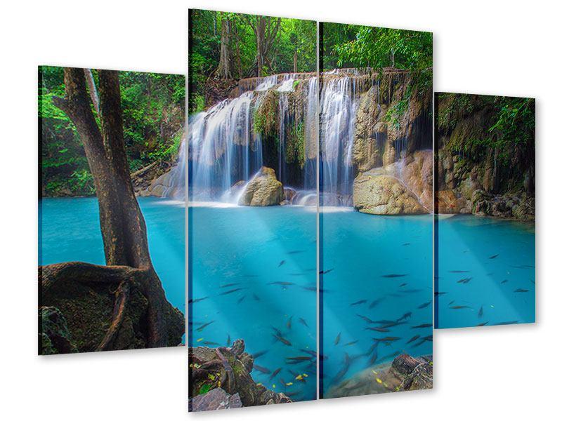 Acrylglasbild 4-teilig Naturerlebnis Wasserfall