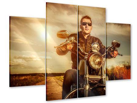 Acrylglasbild 4-teilig Der Coole Biker