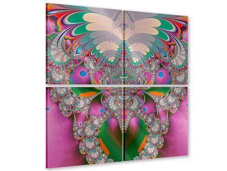 Acrylglasbild 4-teilig Fraktal Design