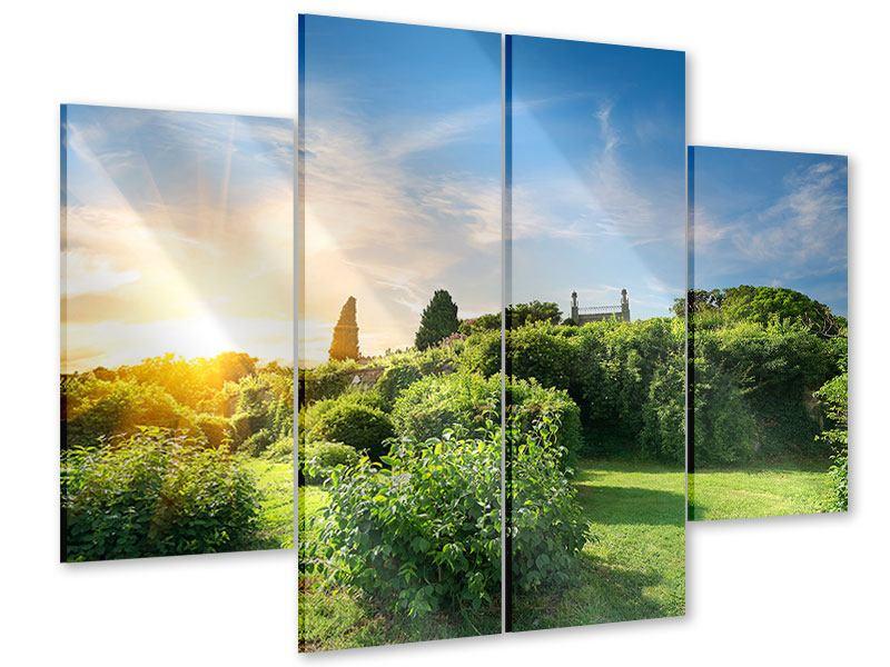 Acrylglasbild 4-teilig Sonnenaufgang im Park