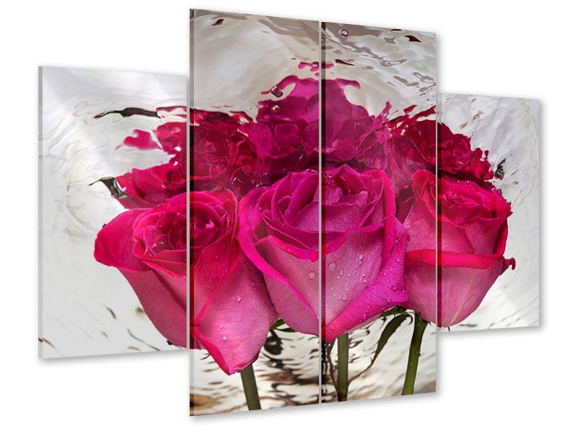 Acrylglasbild 4-teilig Die Rosenspiegelung