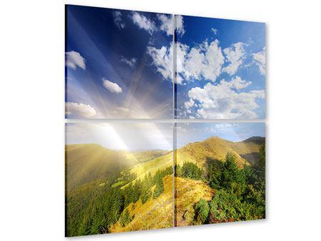Acrylglasbild 4-teilig Sonnenaufgang im Gebirge