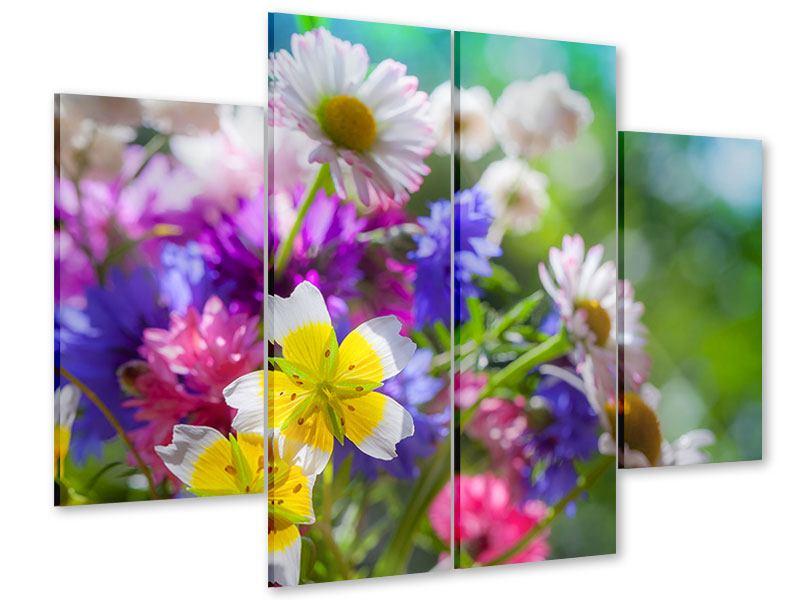 Acrylglasbild 4-teilig XXL Gartenblumen