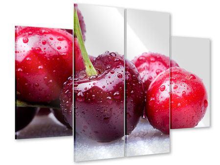 Acrylglasbild 4-teilig Kirschen