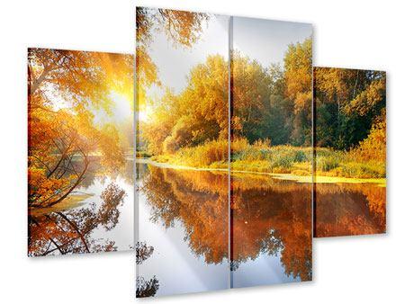 Acrylglasbild 4-teilig Waldspiegelung im Wasser