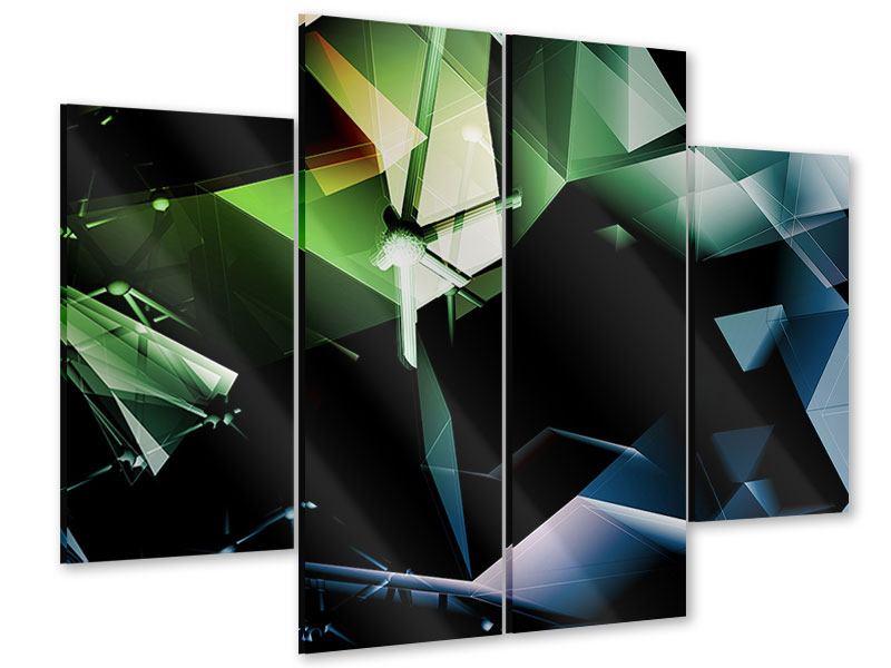 Acrylglasbild 4-teilig 3D-Polygon