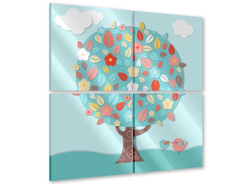 Acrylglasbild 4-teilig Der Kinderzimmer Baum