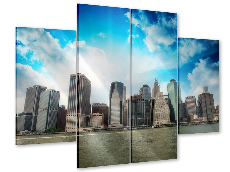 Acrylglasbild 4-teilig Skyline Lower Manhattan