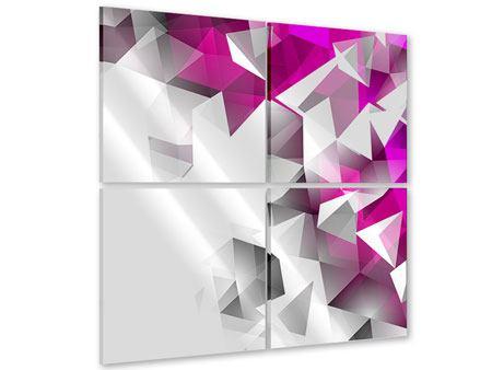 Acrylglasbild 4-teilig 3D-Kristalle Pink