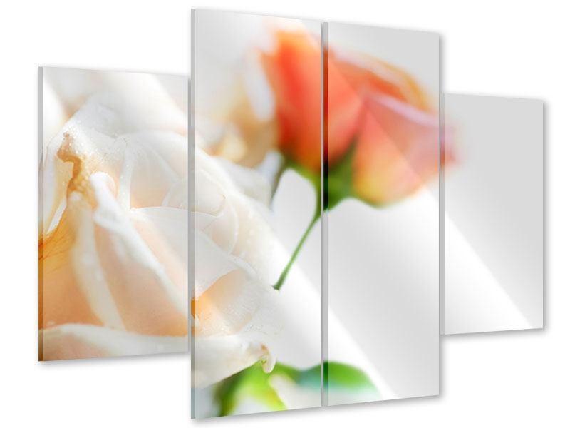 Acrylglasbild 4-teilig Rosenperspektive