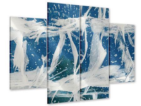 Acrylglasbild 4-teilig Eiskristalle
