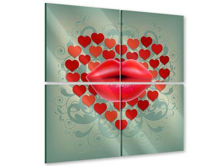 Acrylglasbild 4-teilig Rote Lippen soll man küssen