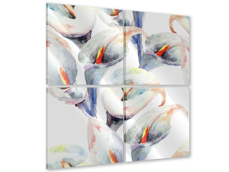 Acrylglasbild 4-teilig Lilien Aquarell