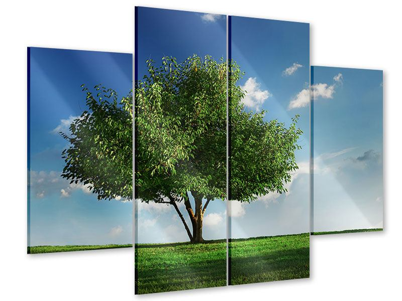 Acrylglasbild 4-teilig Baum im Grün