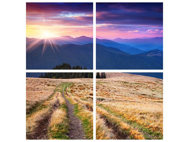 Acrylglasbild 4-teilig Sonnenuntergang in der Bergwelt