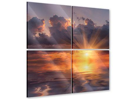 Acrylglasbild 4-teilig Packender Sonnenuntergang
