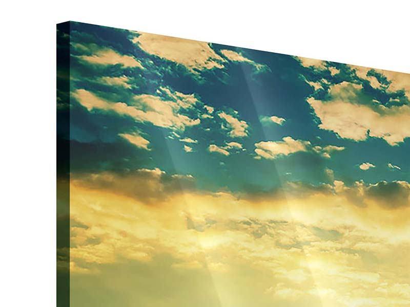 Acrylglasbild 4-teilig Sonnenuntergang am Meereshorizont
