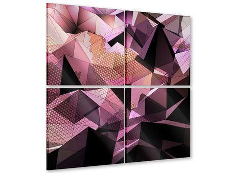Acrylglasbild 4-teilig 3D-Kristallstruktur