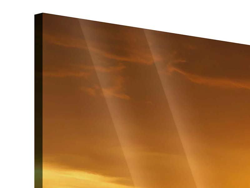 Acrylglasbild 4-teilig Glühender Sonnenuntergang am Wasser