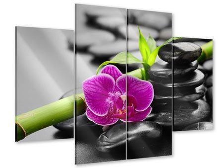 Acrylglasbild 4-teilig Feng-Shui-Orchidee