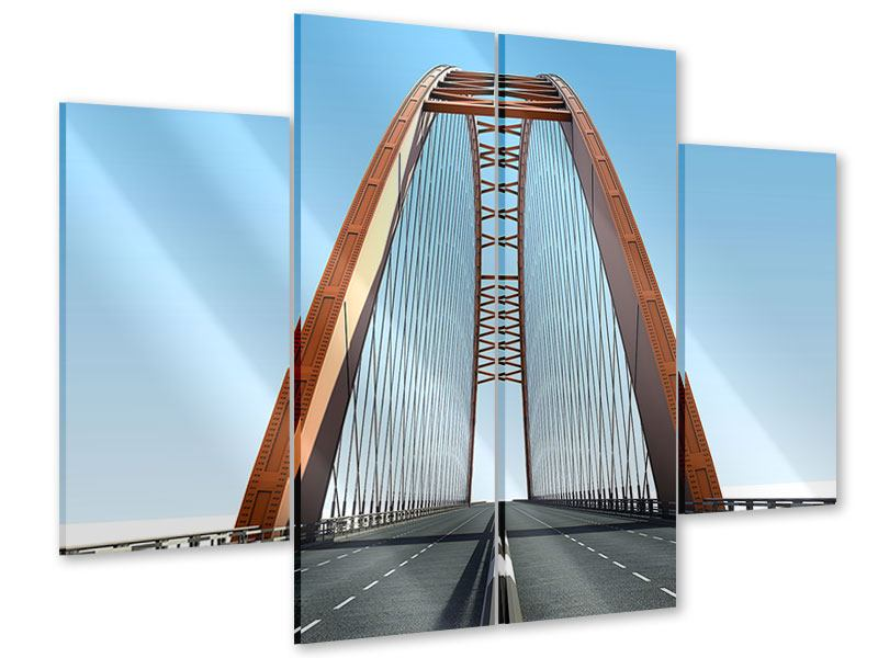 Acrylglasbild 4-teilig Brückenpanorama