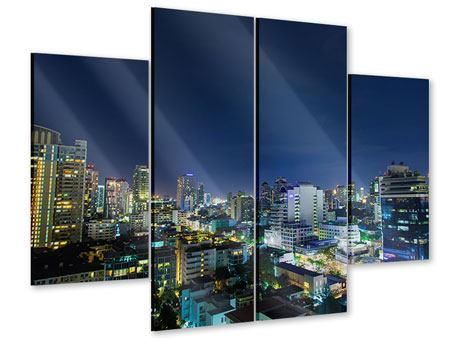 Acrylglasbild 4-teilig Skyline Nachts in Bangkok