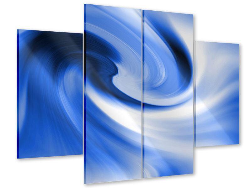 Acrylglasbild 4-teilig Abstrakte blaue Welle